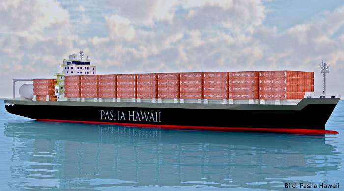 Containerschiff mit LNG-Antrieb der Reederei Pasha Hawaii
