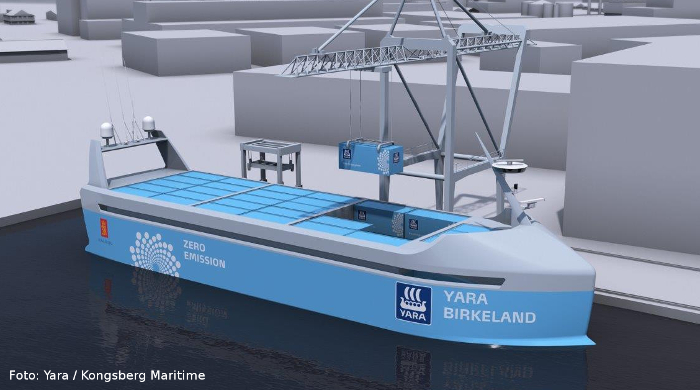 """Selbstfahrendes Elektro-Containerschiff """"Yara Birkeland"""""""