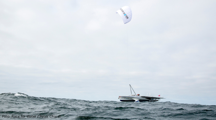 Skysails-Zugdrachen als Antrieb einer Jacht
