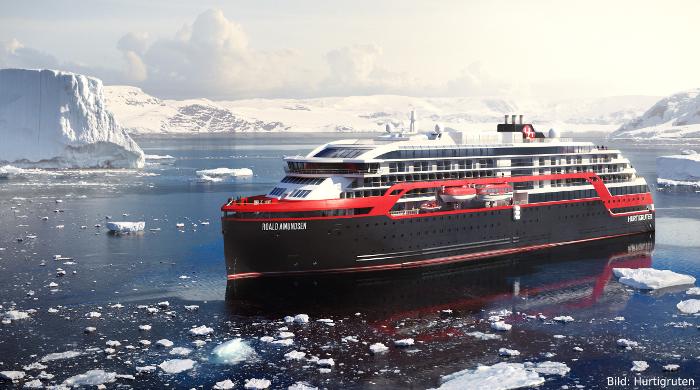 Hurtigruten feiert Stapellauf von Hybrid-Expeditionsschiff Roald Amundsen
