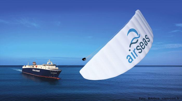 Der von Airseas entwickelte Zugdrachen Seawing auf einem Schiff von Airbus
