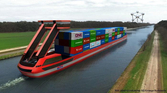 Portliner plant Binnenschiffe mit der Wasserstoff-Speichertechnik LOHC