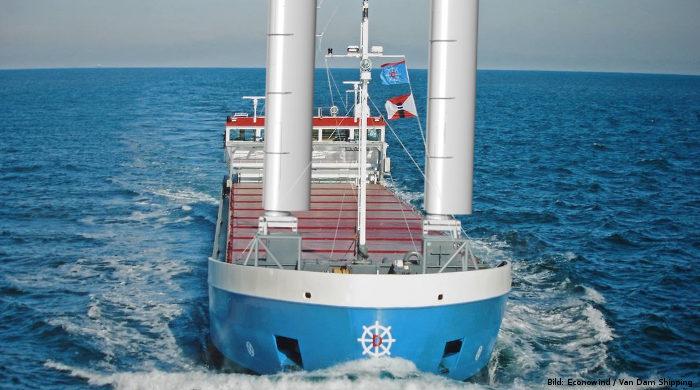 Ventifoils von Econowind werden auf Schiff von Van Dam Shipping installiert