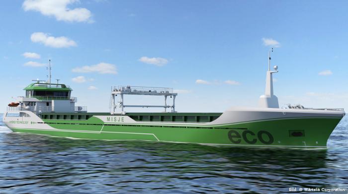 Hybrid-Frachter von Misje Eco Bulk bleiben im Hafen emissionsfrei
